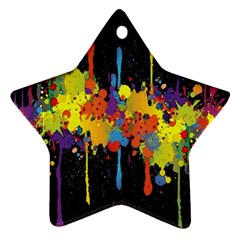 Crazy Multicolored Double Running Splashes Horizon Star Ornament (two Sides)