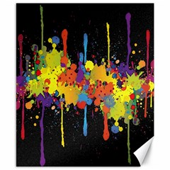 Crazy Multicolored Double Running Splashes Horizon Canvas 8  x 10