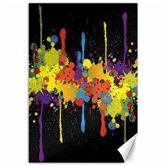 Crazy Multicolored Double Running Splashes Horizon Canvas 12  x 18