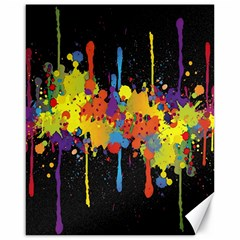 Crazy Multicolored Double Running Splashes Horizon Canvas 16  X 20