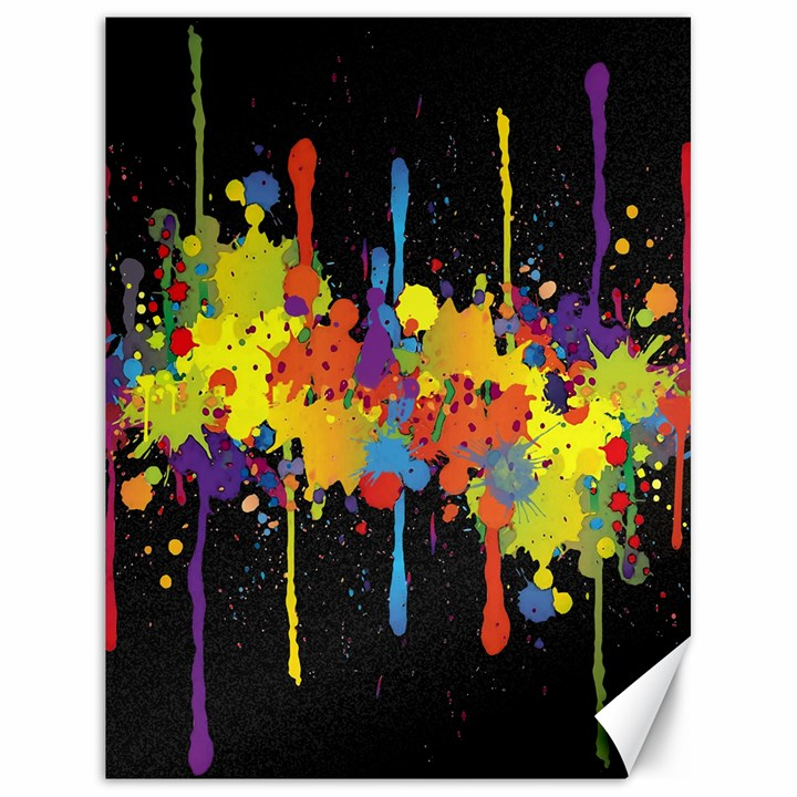 Crazy Multicolored Double Running Splashes Horizon Canvas 18  x 24