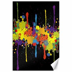 Crazy Multicolored Double Running Splashes Horizon Canvas 24  X 36