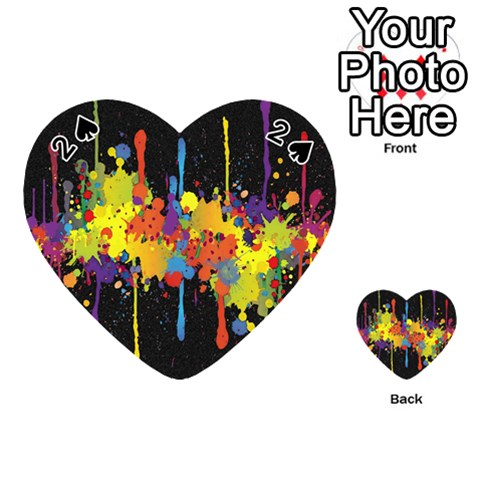 Crazy Multicolored Double Running Splashes Horizon Playing Cards 54 (Heart)
