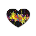 Crazy Multicolored Double Running Splashes Horizon Rubber Coaster (Heart)  Front