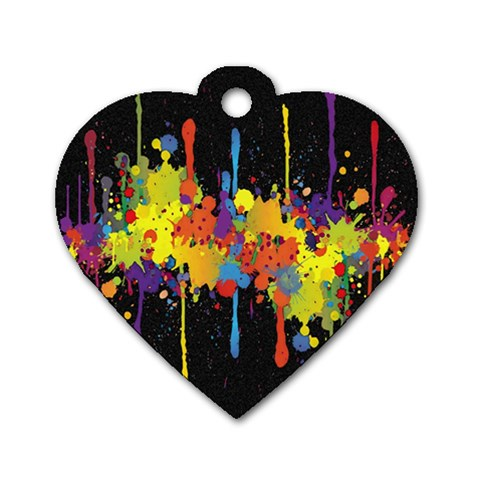 Crazy Multicolored Double Running Splashes Horizon Dog Tag Heart (Two Sides)