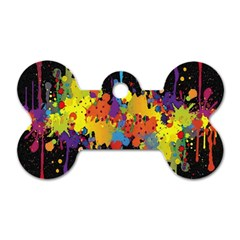Crazy Multicolored Double Running Splashes Horizon Dog Tag Bone (two Sides)