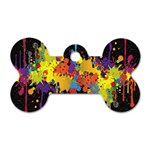 Crazy Multicolored Double Running Splashes Horizon Dog Tag Bone (Two Sides) Front