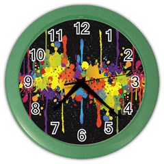 Crazy Multicolored Double Running Splashes Horizon Color Wall Clocks