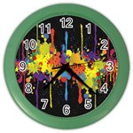 Crazy Multicolored Double Running Splashes Horizon Color Wall Clocks Front