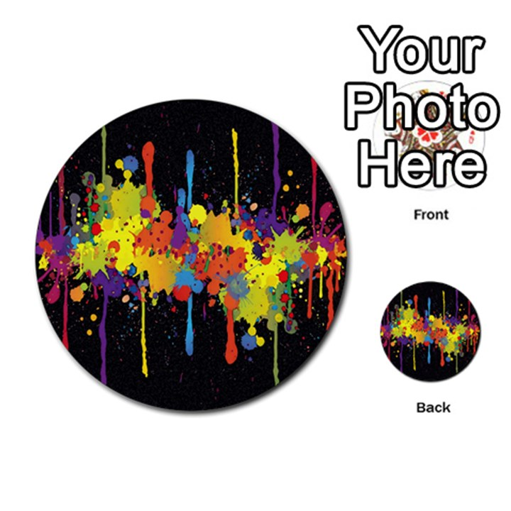 Crazy Multicolored Double Running Splashes Horizon Multi-purpose Cards (Round)