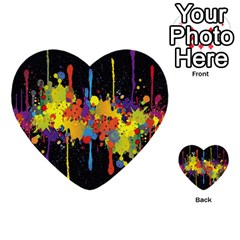 Crazy Multicolored Double Running Splashes Horizon Multi Purpose Cards (heart)