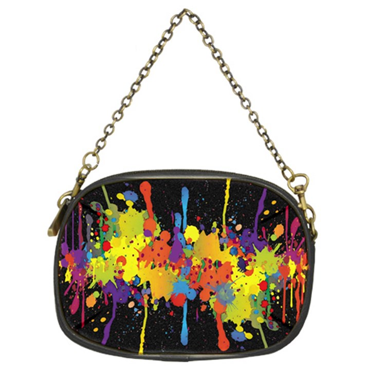 Crazy Multicolored Double Running Splashes Horizon Chain Purses (Two Sides)