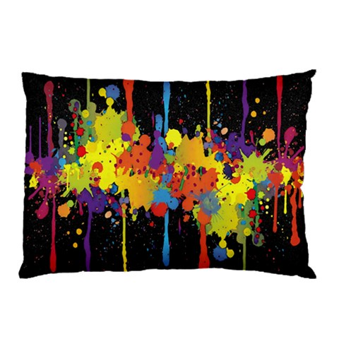 Crazy Multicolored Double Running Splashes Horizon Pillow Case