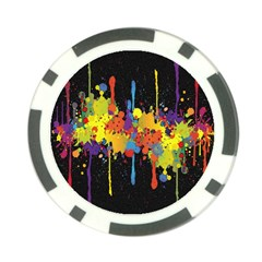 Crazy Multicolored Double Running Splashes Horizon Poker Chip Card Guards (10 pack)