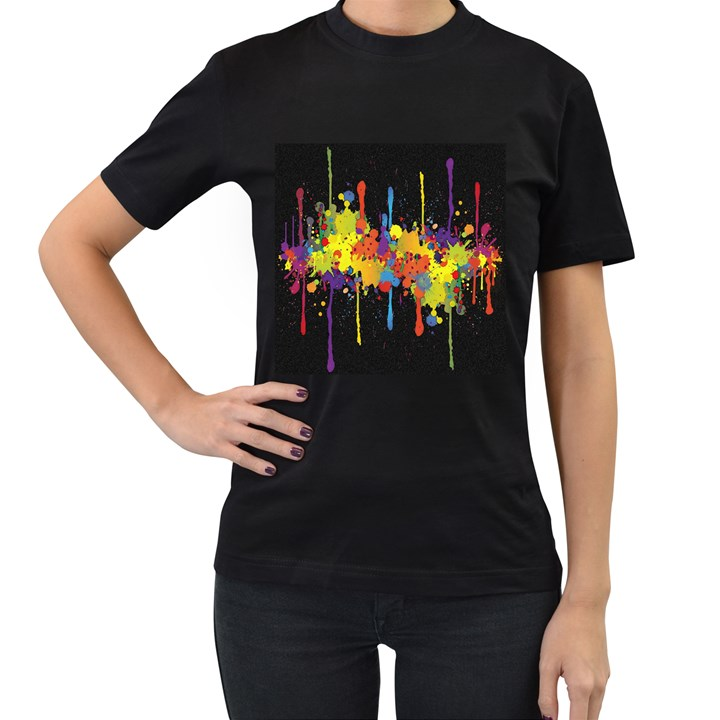 Crazy Multicolored Double Running Splashes Horizon Women s T-Shirt (Black)