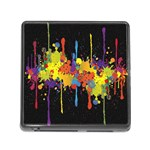 Crazy Multicolored Double Running Splashes Horizon Memory Card Reader (Square) Front