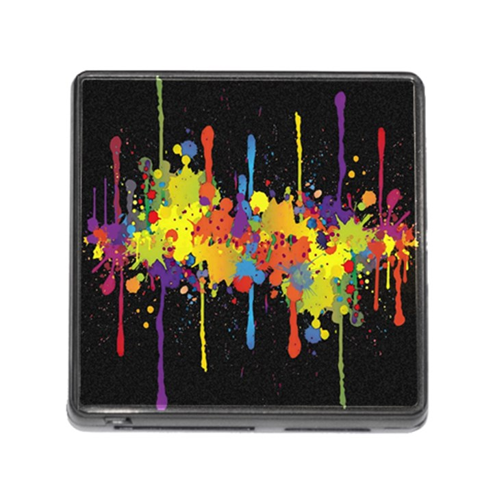 Crazy Multicolored Double Running Splashes Horizon Memory Card Reader (Square)