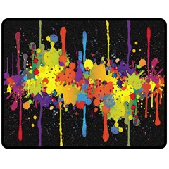 Crazy Multicolored Double Running Splashes Horizon Fleece Blanket (Medium)