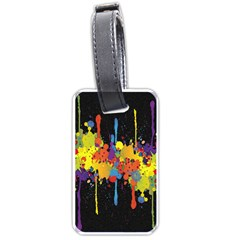 Crazy Multicolored Double Running Splashes Horizon Luggage Tags (one Side)