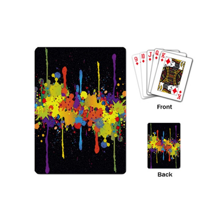 Crazy Multicolored Double Running Splashes Horizon Playing Cards (Mini)