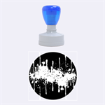 Crazy Multicolored Double Running Splashes Horizon Rubber Round Stamps (Medium) 1.5 x1.5  Stamp