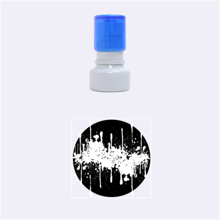Crazy Multicolored Double Running Splashes Horizon Rubber Round Stamps (Small)