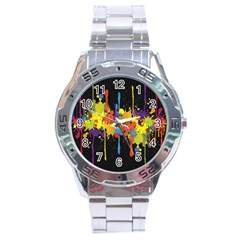 Crazy Multicolored Double Running Splashes Horizon Stainless Steel Analogue Watch