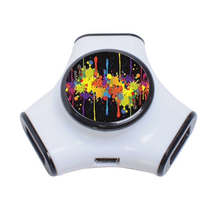 Crazy Multicolored Double Running Splashes Horizon 3-Port USB Hub