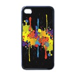 Crazy Multicolored Double Running Splashes Horizon Apple iPhone 4 Case (Black) Front