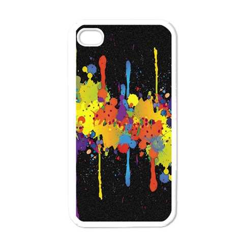 Crazy Multicolored Double Running Splashes Horizon Apple iPhone 4 Case (White)