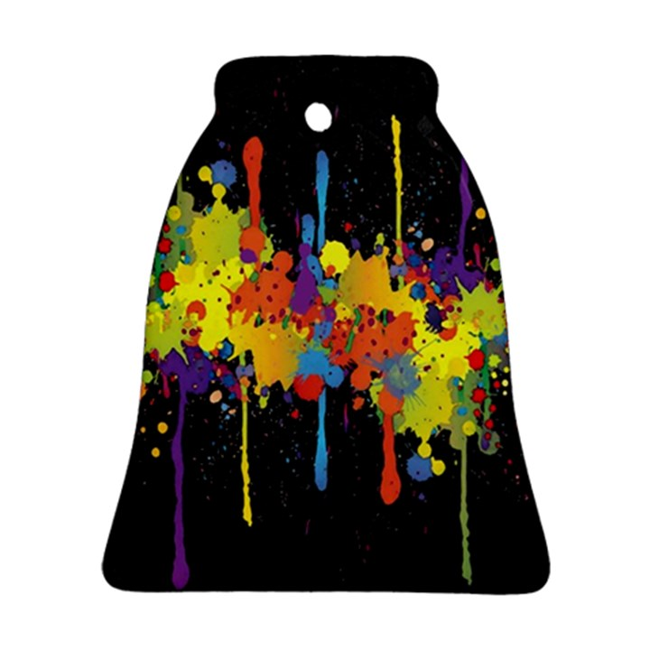 Crazy Multicolored Double Running Splashes Horizon Ornament (Bell)
