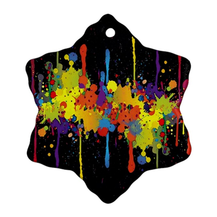 Crazy Multicolored Double Running Splashes Horizon Snowflake Ornament (2-Side)