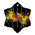 Crazy Multicolored Double Running Splashes Horizon Snowflake Ornament (2-Side) Back