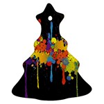 Crazy Multicolored Double Running Splashes Horizon Christmas Tree Ornament (2 Sides) Back