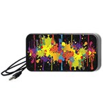 Crazy Multicolored Double Running Splashes Horizon Portable Speaker (Black)  Front
