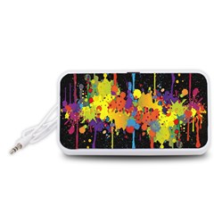 Crazy Multicolored Double Running Splashes Horizon Portable Speaker (White)