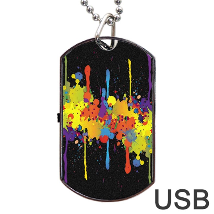 Crazy Multicolored Double Running Splashes Horizon Dog Tag USB Flash (One Side)