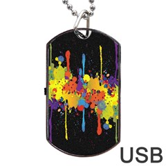 Crazy Multicolored Double Running Splashes Horizon Dog Tag Usb Flash (two Sides)