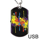 Crazy Multicolored Double Running Splashes Horizon Dog Tag USB Flash (Two Sides)  Back
