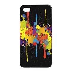 Crazy Multicolored Double Running Splashes Horizon Apple Iphone 4/4s Seamless Case (black)