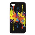 Crazy Multicolored Double Running Splashes Horizon Apple iPhone 4/4s Seamless Case (Black) Front