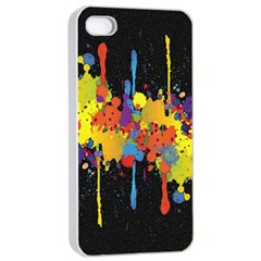 Crazy Multicolored Double Running Splashes Horizon Apple Iphone 4/4s Seamless Case (white)