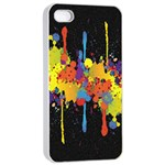 Crazy Multicolored Double Running Splashes Horizon Apple iPhone 4/4s Seamless Case (White) Front
