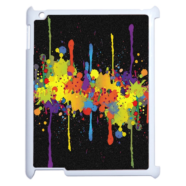 Crazy Multicolored Double Running Splashes Horizon Apple iPad 2 Case (White)