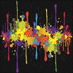 Crazy Multicolored Double Running Splashes Horizon Twin Hearts 3D Greeting Card (8x4) Inside