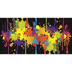 Crazy Multicolored Double Running Splashes Horizon Twin Hearts 3D Greeting Card (8x4) Back