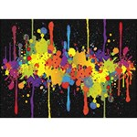 Crazy Multicolored Double Running Splashes Horizon Heart Bottom 3D Greeting Card (7x5) Back