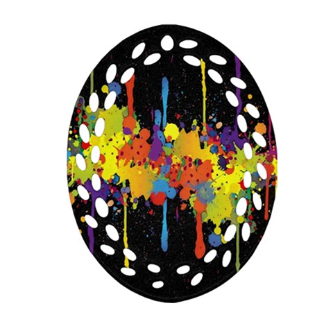 Crazy Multicolored Double Running Splashes Horizon Ornament (Oval Filigree)