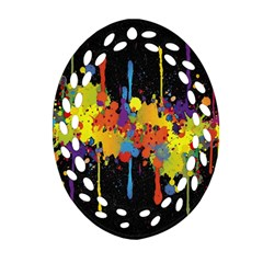 Crazy Multicolored Double Running Splashes Horizon Oval Filigree Ornament (2-Side)