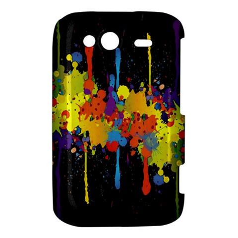 Crazy Multicolored Double Running Splashes Horizon HTC Wildfire S A510e Hardshell Case